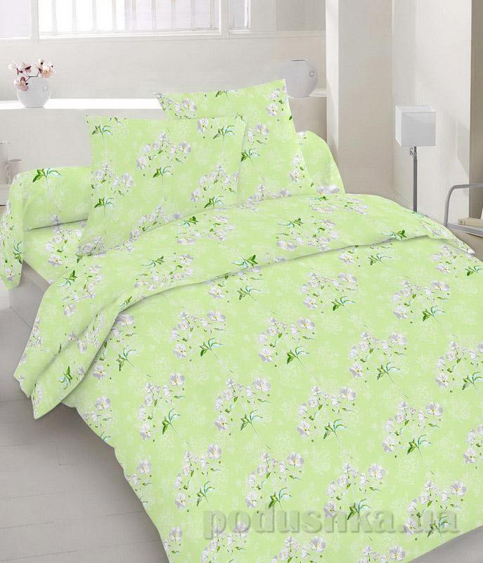 Комплект постельного белья TM Nostra Бязь Голд салатовый с белыми цветами Двуспальный евро комплект  TM Nostra