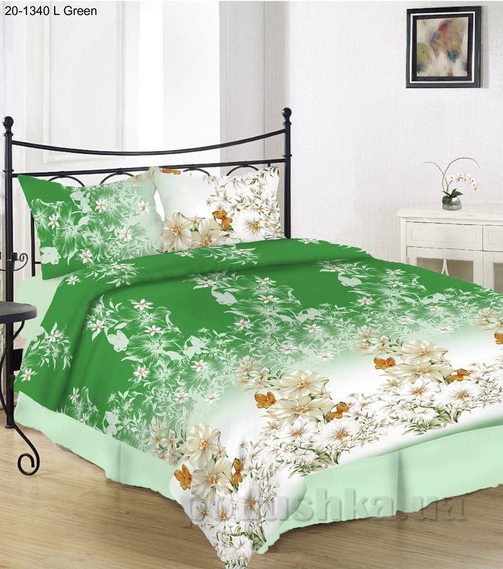 Комплект постельного белья TM Nostra Бязь Голд зелено-белые цветы