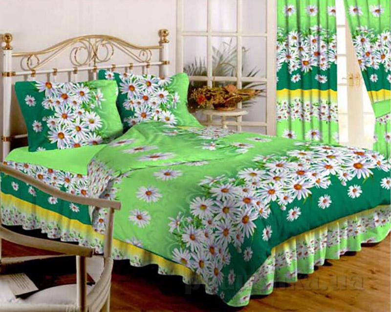 Комплект постельного белья TM Nostra Бязь Голд зелено-белый Ромашки