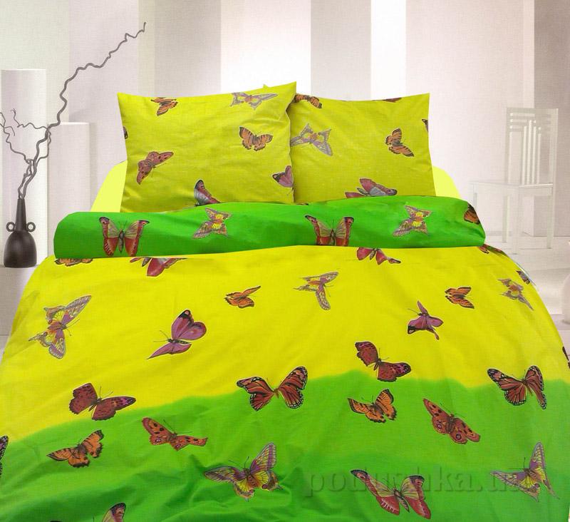 Комплект постельного белья TM Nostra Бязь Голд желто-зеленый бабочки Двуспальный евро комплект  TM Nostra
