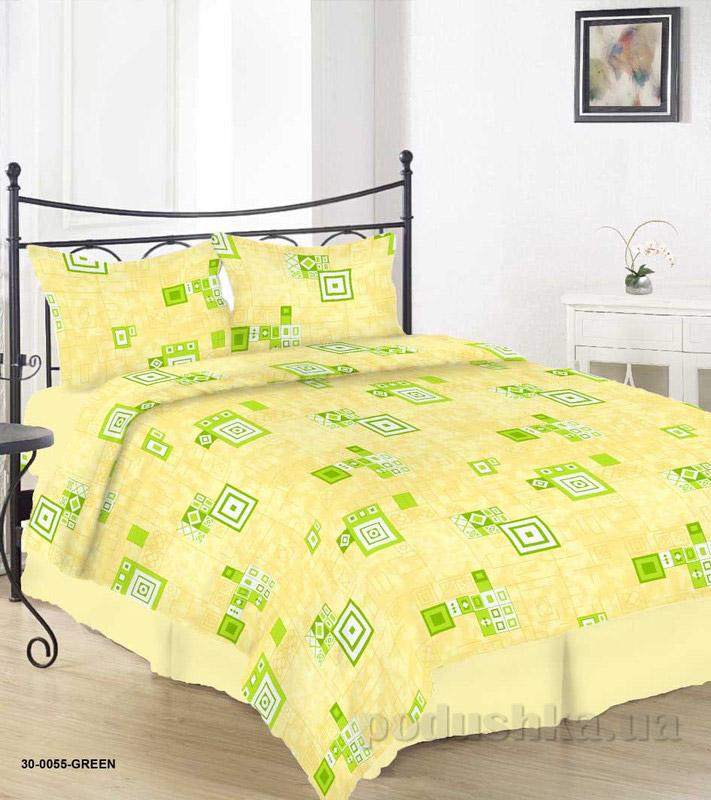 Комплект постельного белья TM Nostra Бязь Голд желто-зеленый геометрия Двуспальный евро комплект  TM Nostra