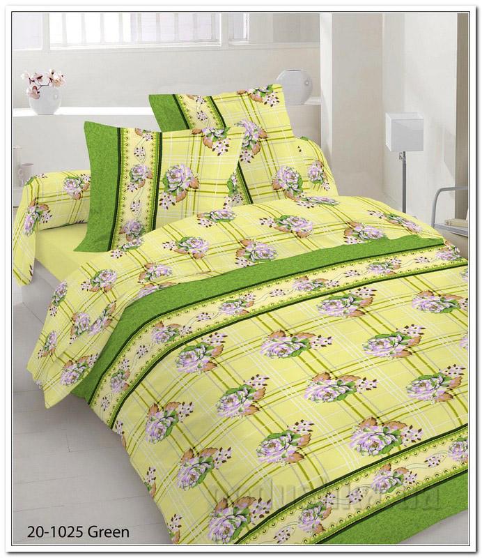 Комплект постельного белья TM Nostra Бязь Голд желто-зеленый цветы-клетка