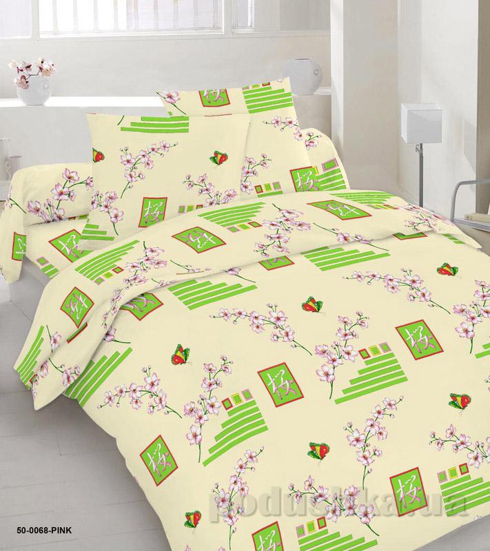 Комплект постельного белья TM Nostra Бязь Голд желтый геометрия-веточкчки Двуспальный евро комплект  TM Nostra