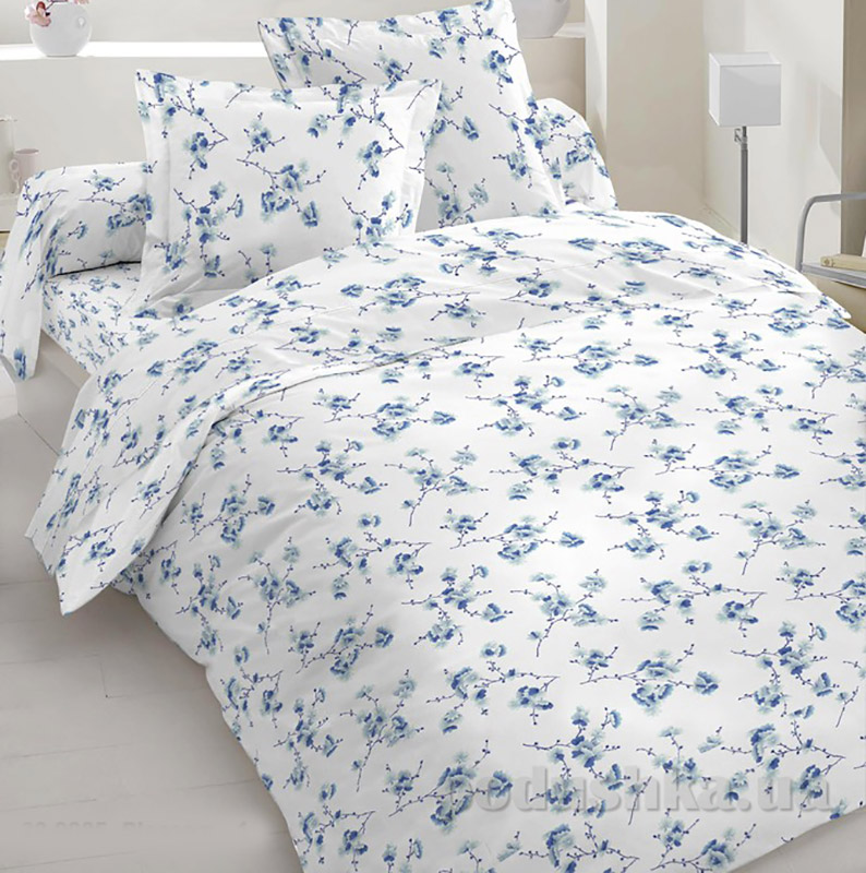 Комплект постельного белья TM Nostra Бязь Люкс бело-голубой цветы Двуспальный комплект  TM Nostra