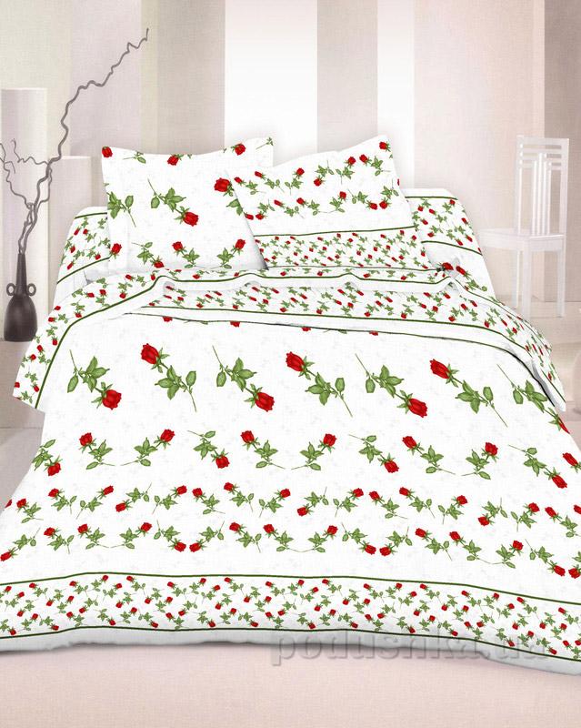 Комплект постельного белья TM Nostra Бязь Люкс бело-красно-розовый розочки