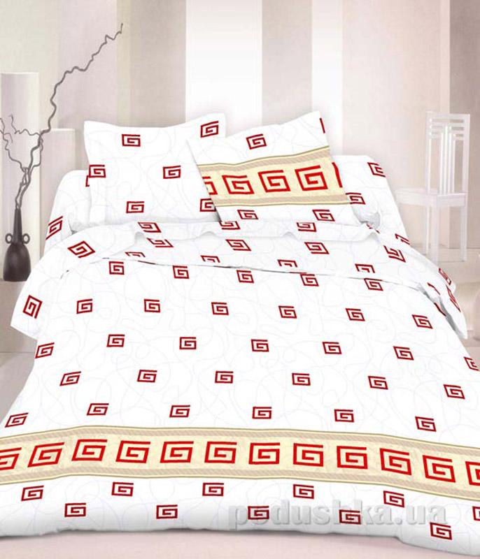 Комплект постельного белья TM Nostra Бязь Люкс бело-красный греческий узор