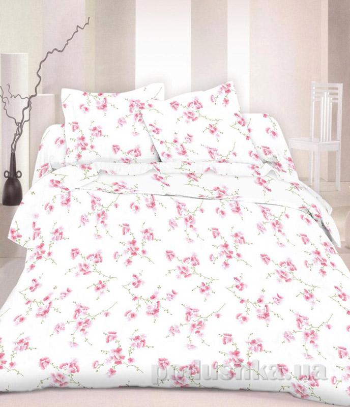 Комплект постельного белья TM Nostra Бязь Люкс бело-розовый цветы Полуторный комплект  TM Nostra