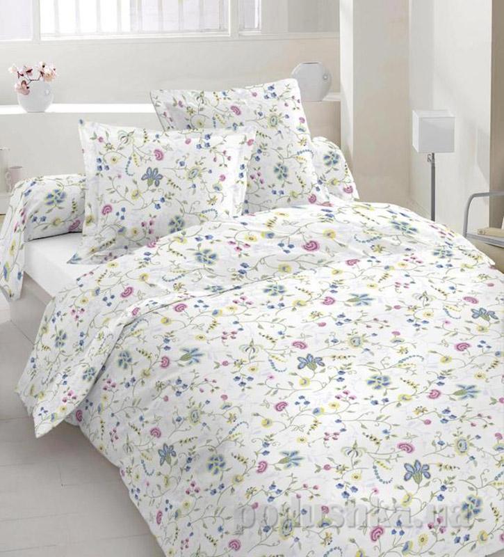 Комплект постельного белья TM Nostra Бязь Люкс бело-сине-розовый цветы