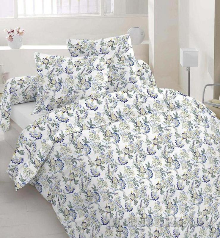Комплект постельного белья TM Nostra Бязь Люкс бело-синий цветы Семейный комплект  TM Nostra