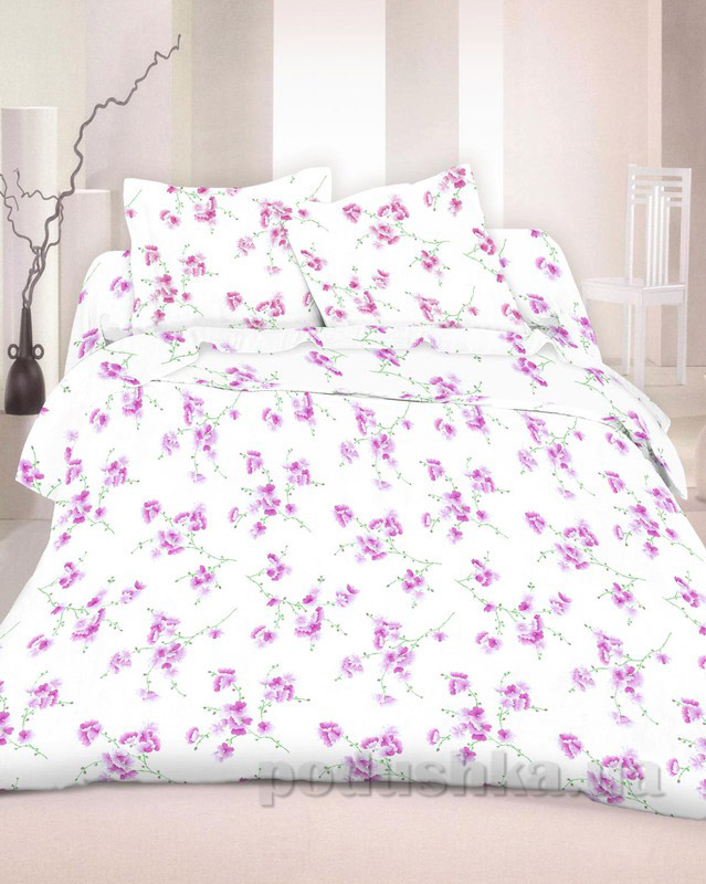 Комплект постельного белья TM Nostra Бязь Люкс бело-сиреневый цветы