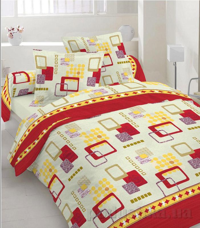 Комплект постельного белья TM Nostra Бязь Люкс бежево-бордовый геометрия