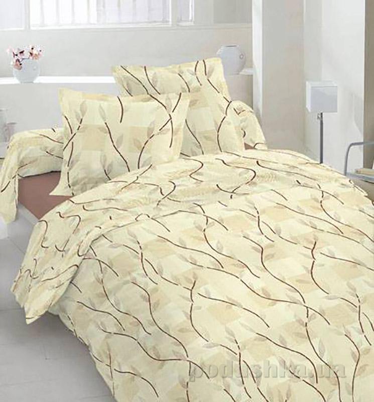 Комплект постельного белья TM Nostra Бязь Люкс бежево-коричневые растения Полуторный комплект  TM Nostra