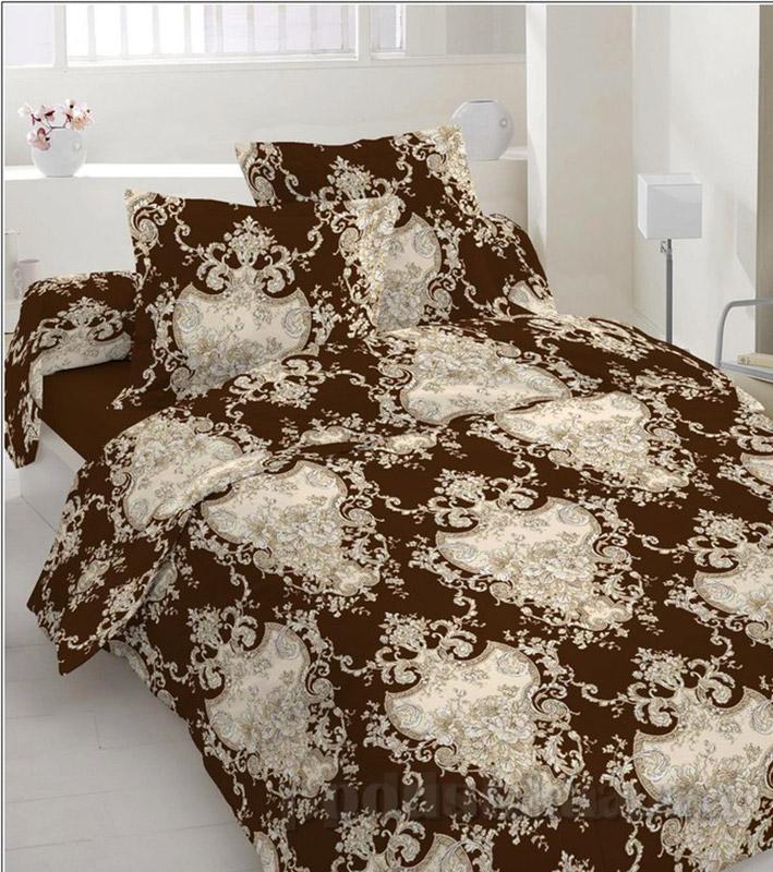 Комплект постельного белья TM Nostra Бязь Люкс бежево-коричневые узоры Полуторный комплект  TM Nostra
