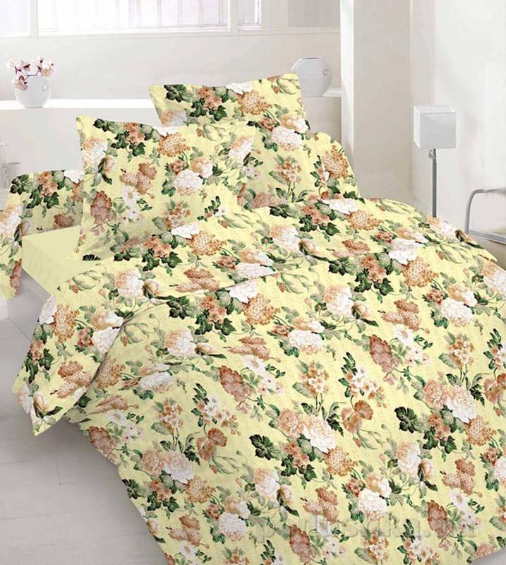 Комплект постельного белья TM Nostra Бязь Люкс бежево-зеленый розы Двуспальный комплект  TM Nostra