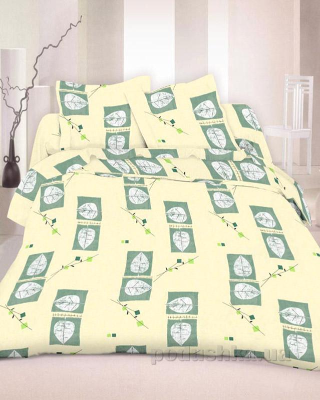 Комплект постельного белья TM Nostra Бязь Люкс бежевый-хаки листья