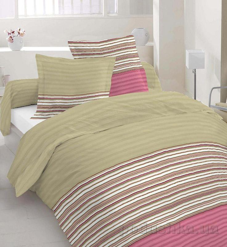 Комплект постельного белья TM Nostra Бязь Люкс бордо-хаки полоска