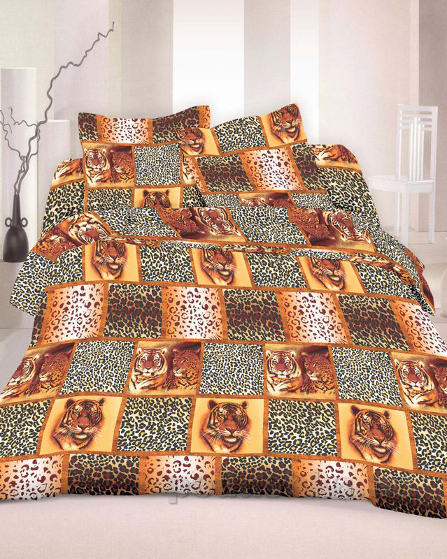 Комплект постельного белья TM Nostra Бязь Люкс коричневый тигры Двуспальный евро комплект  TM Nostra