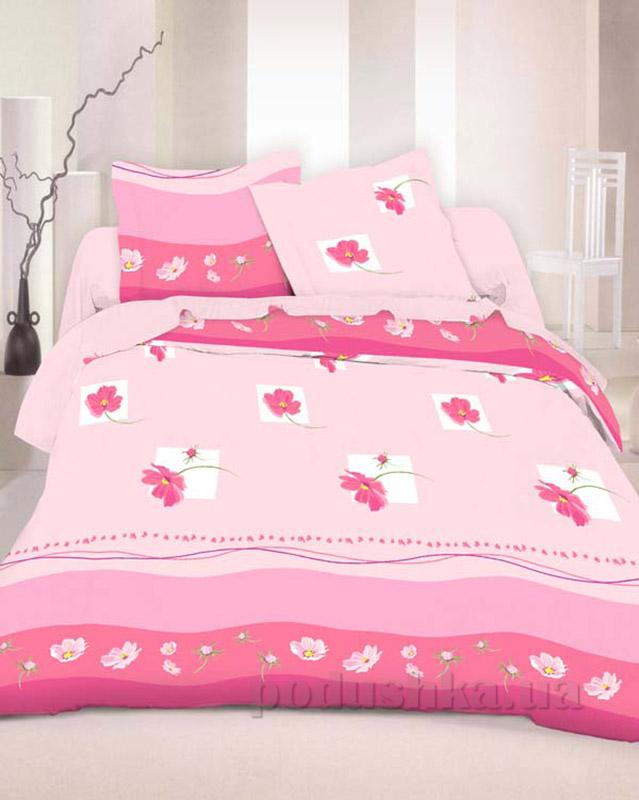 Комплект постельного белья TM Nostra Бязь Люкс розовый комбинированный цветы Полуторный комплект  TM Nostra