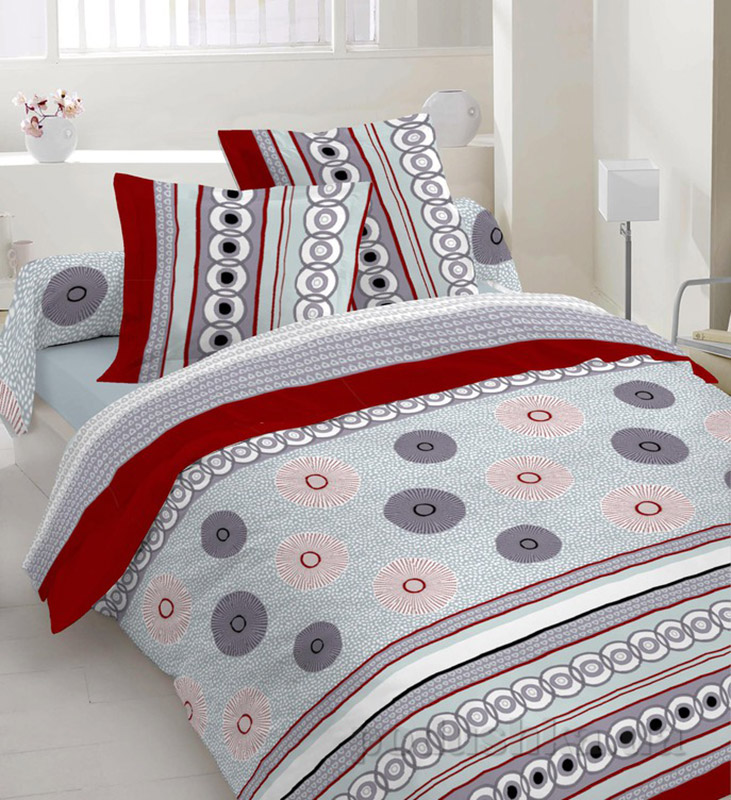 Комплект постельного белья TM Nostra Бязь Люкс серо-красная композиция