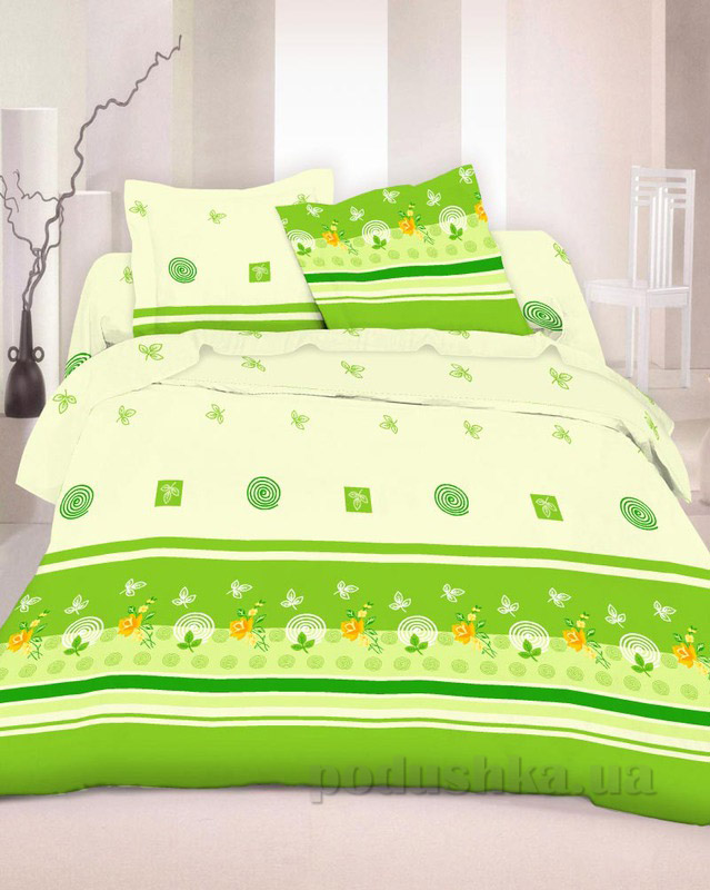 Комплект постельного белья TM Nostra Бязь Люкс зелено-бежевая композиция Полуторный комплект  TM Nostra