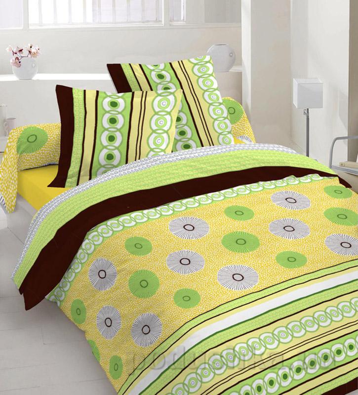 Комплект постельного белья TM Nostra Бязь Люкс зелено-желтая композиция