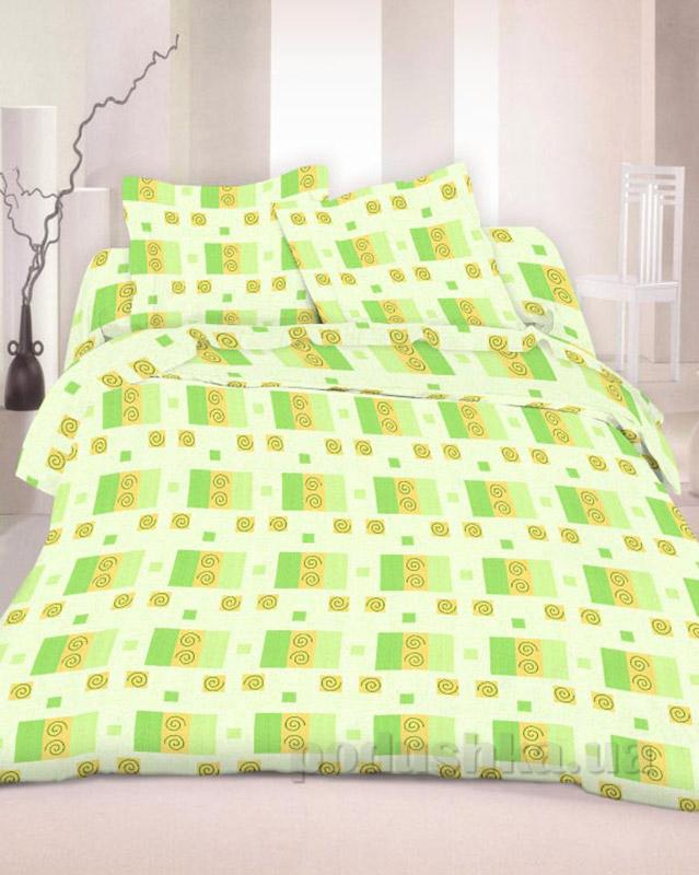 Комплект постельного белья TM Nostra Бязь Люкс зелено-желтый геометрия Двуспальный евро комплект  TM Nostra