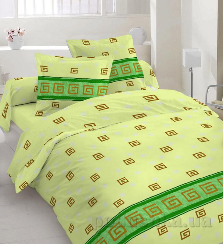 Комплект постельного белья TM Nostra Бязь Люкс зелено-желтый греческий узор