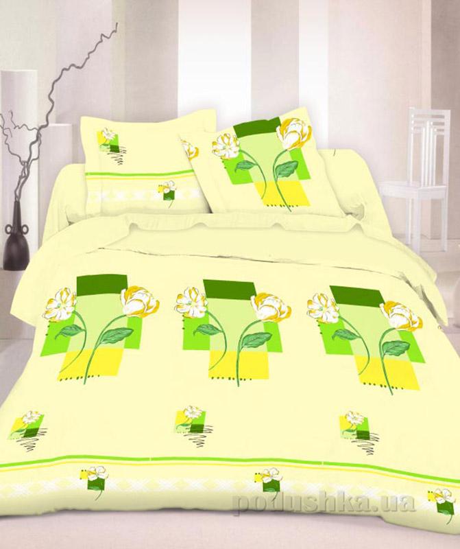 Комплект постельного белья TM Nostra Бязь Люкс зелено-желтый пионы