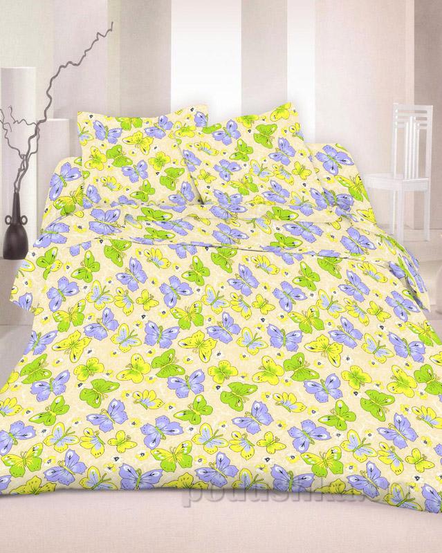 Комплект постельного белья TM Nostra Бязь Люкс желто-фиолетово-зеленый бабочки