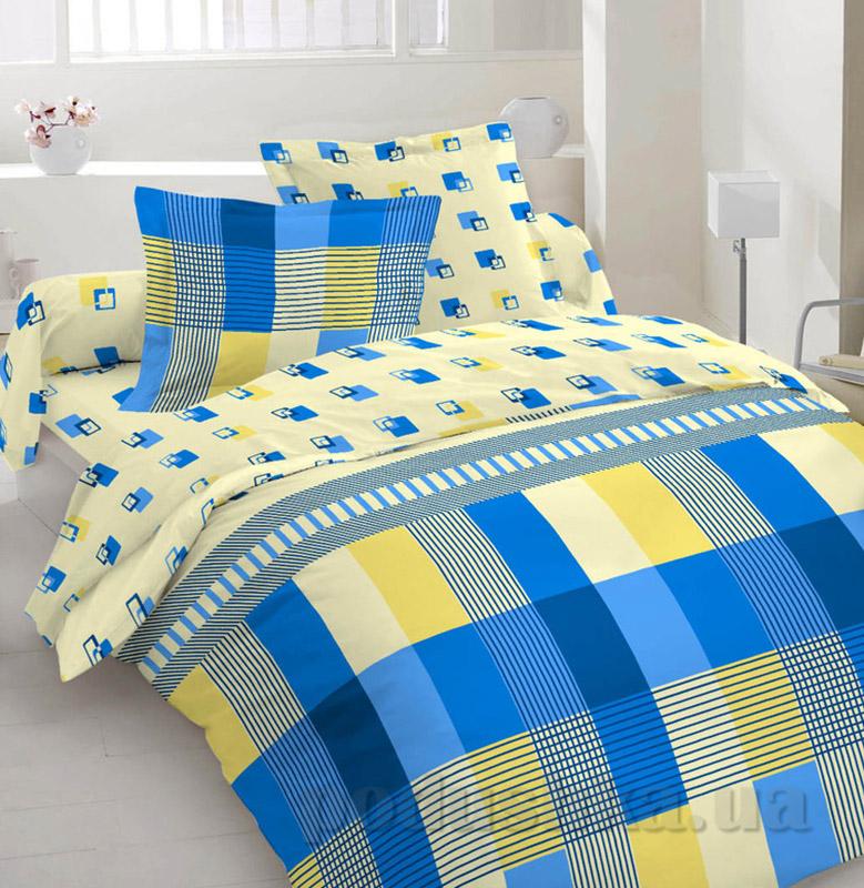 Комплект постельного белья TM Nostra Бязь Люкс желто-голубая клетка