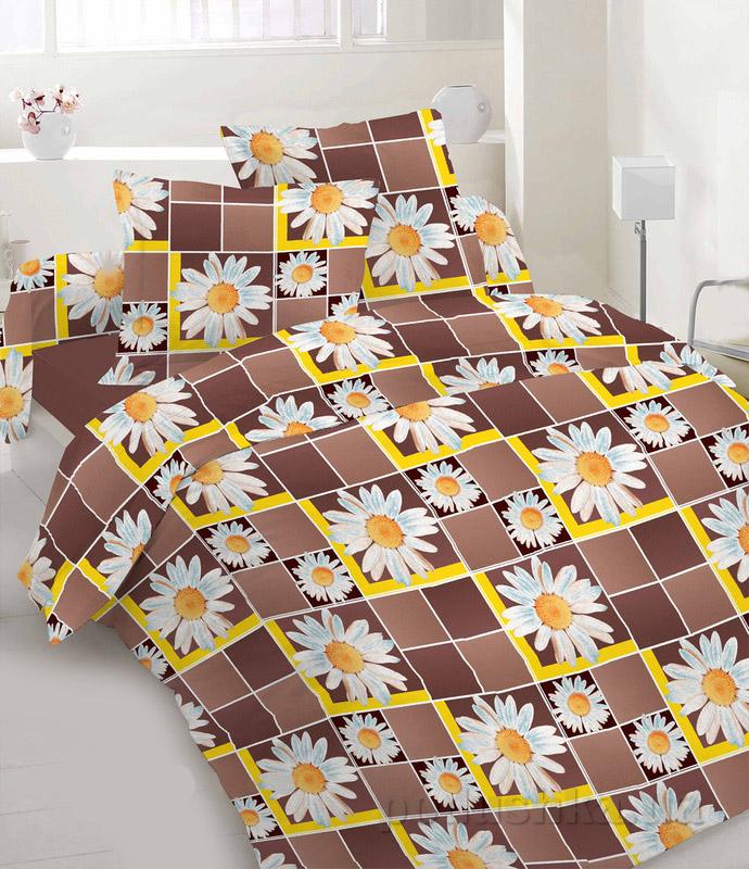 Комплект постельного белья TM Nostra Бязь Люкс желто-коричневые ромашки