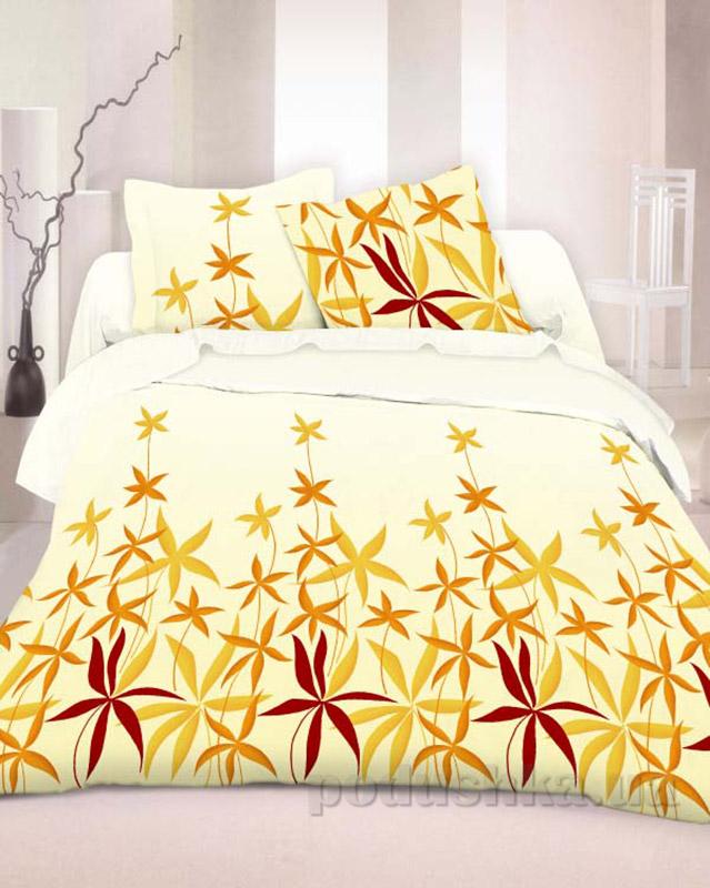Комплект постельного белья TM Nostra Бязь Люкс желто-коричневый растения Полуторный комплект  TM Nostra