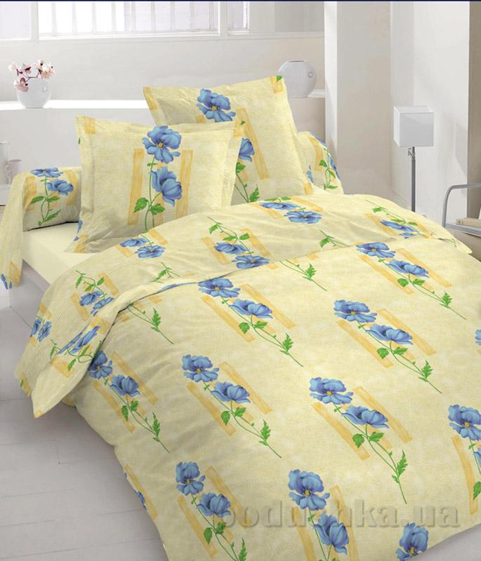 Комплект постельного белья TM Nostra Бязь Люкс желто-синий цветы Двуспальный евро комплект  TM Nostra