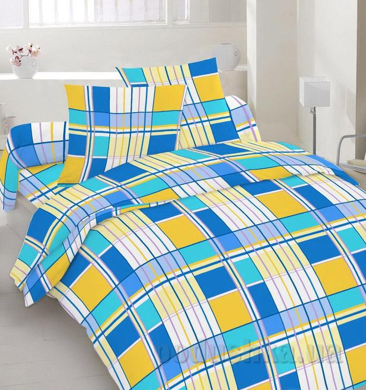 Комплект постельного белья TM Nostra Бязь Люкс желто-синяя клетка Полуторный комплект  TM Nostra