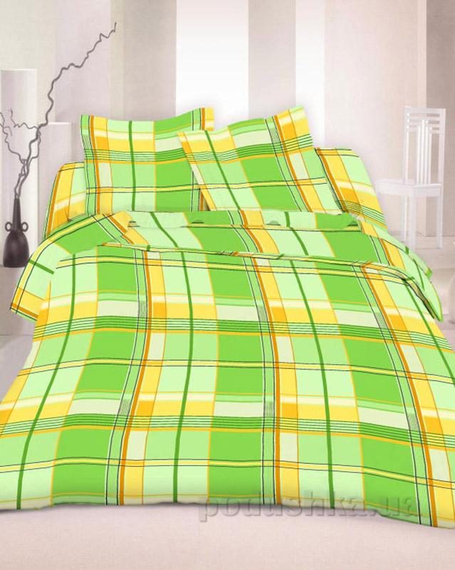 Комплект постельного белья TM Nostra Бязь Люкс желто-зеленая клетка Двуспальный комплект  TM Nostra