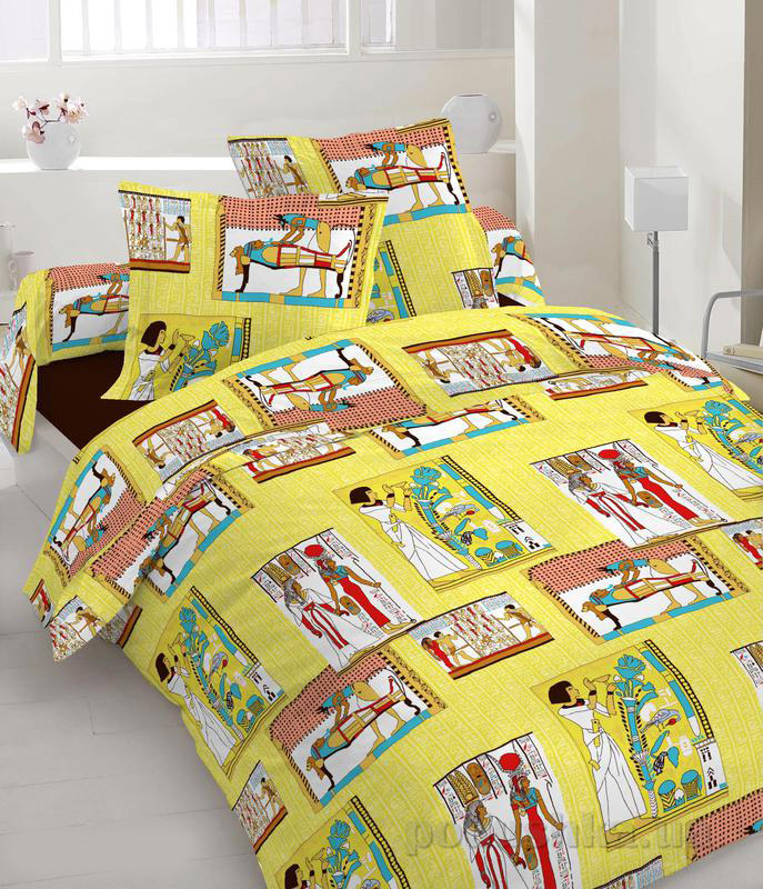 Комплект постельного белья TM Nostra Бязь Люкс желтый Египетские мотивы Двуспальный евро комплект  TM Nostra