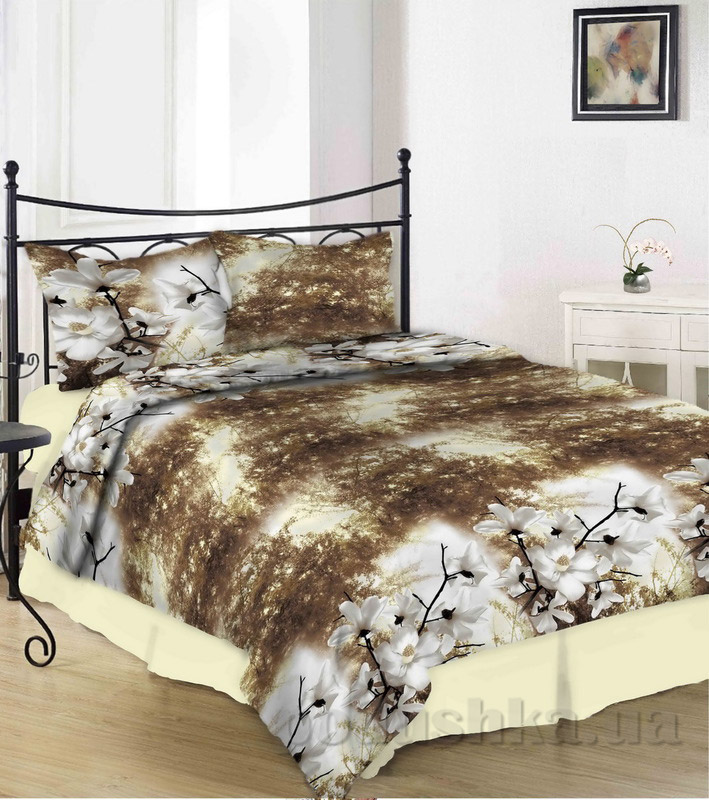 Комплект постельного белья TM Nostra Сатин бело-коричневый абстракция цветы-сакуры