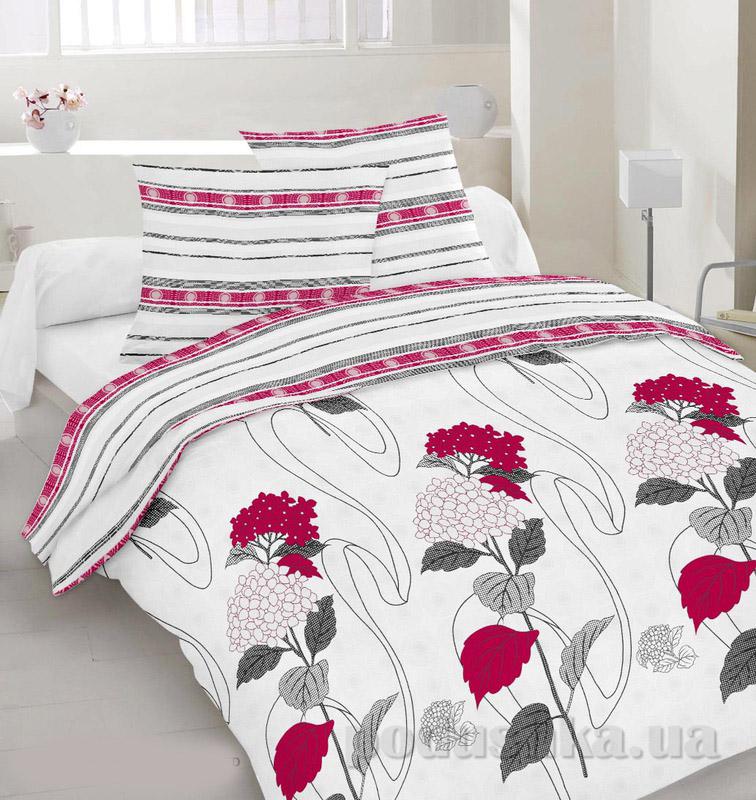 Комплект постельного белья TM Nostra Сатин белый-фуксия полоска-ягоды