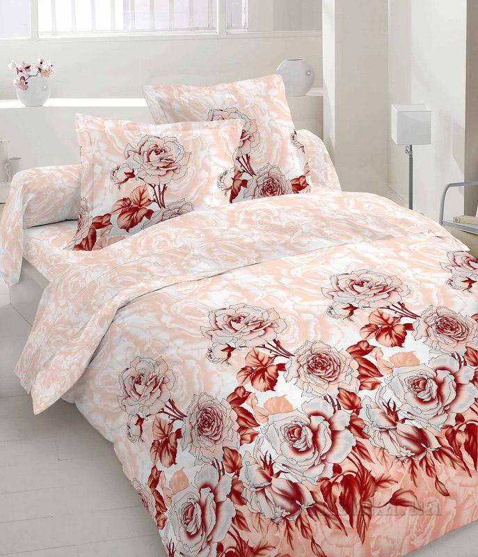 Комплект постельного белья TM Nostra Сатин бежево-бородовый Розы