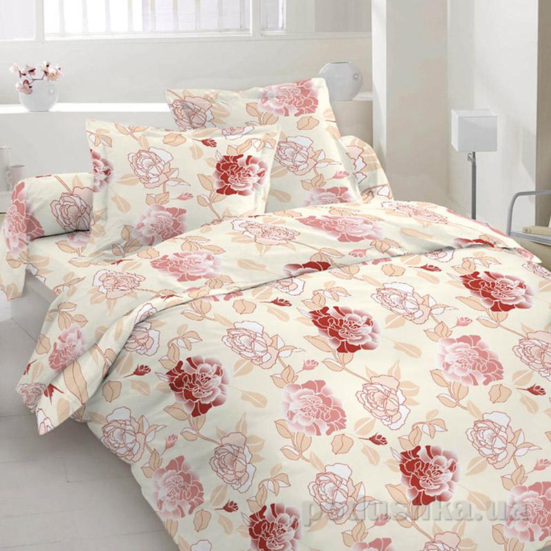 Комплект постельного белья TM Nostra Сатин бежево-красный цветы