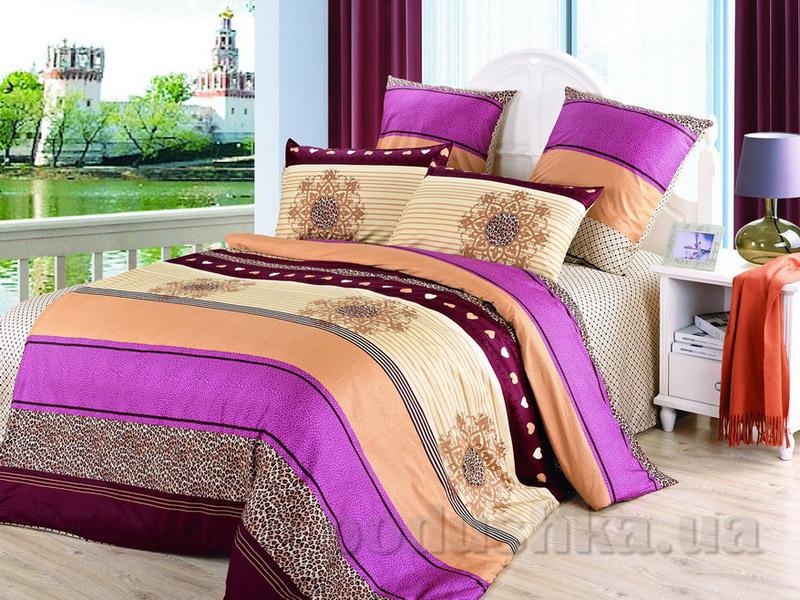Комплект постельного белья TM Nostra Сатин бежево-оранжево-сиреневый полоска-орнамент