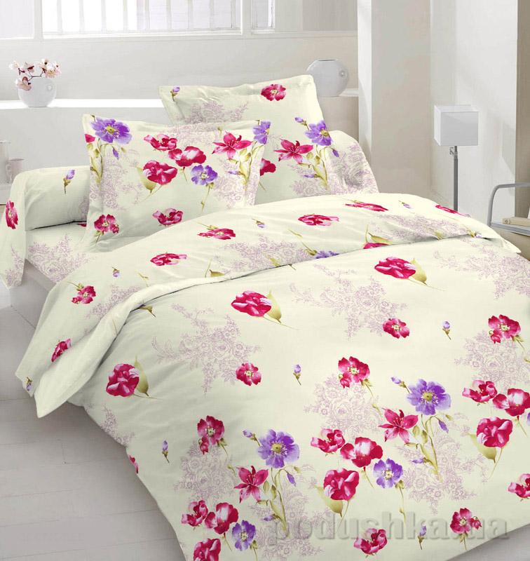 Комплект постельного белья TM Nostra Сатин бежево-розовый Маки