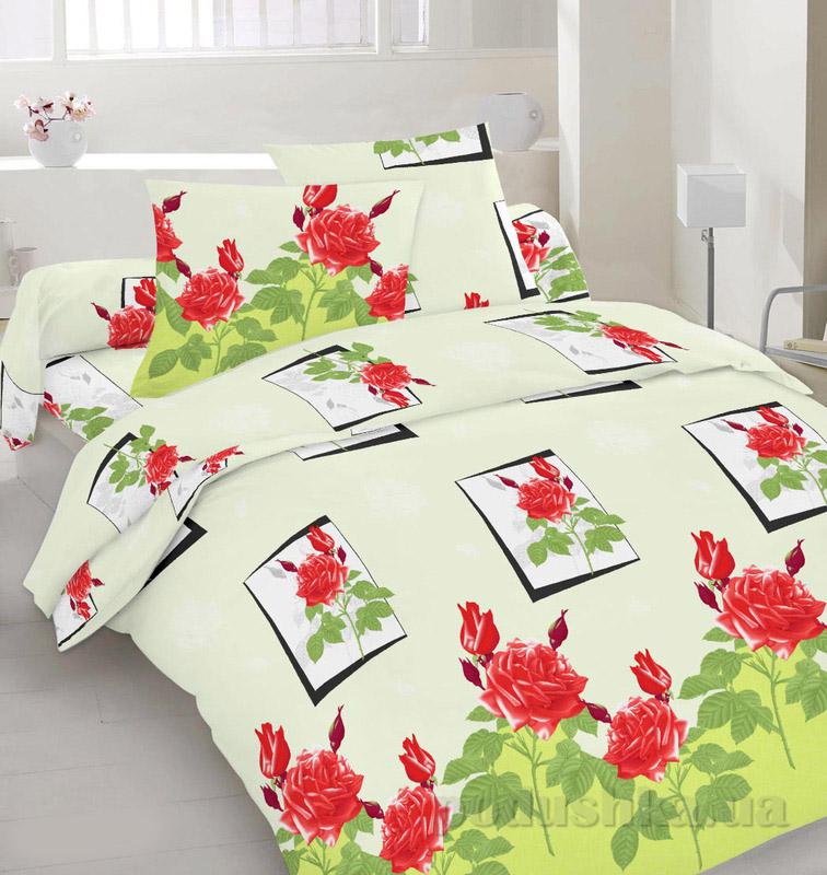 Комплект постельного белья TM Nostra Сатин бежево-зелено-красный Розы