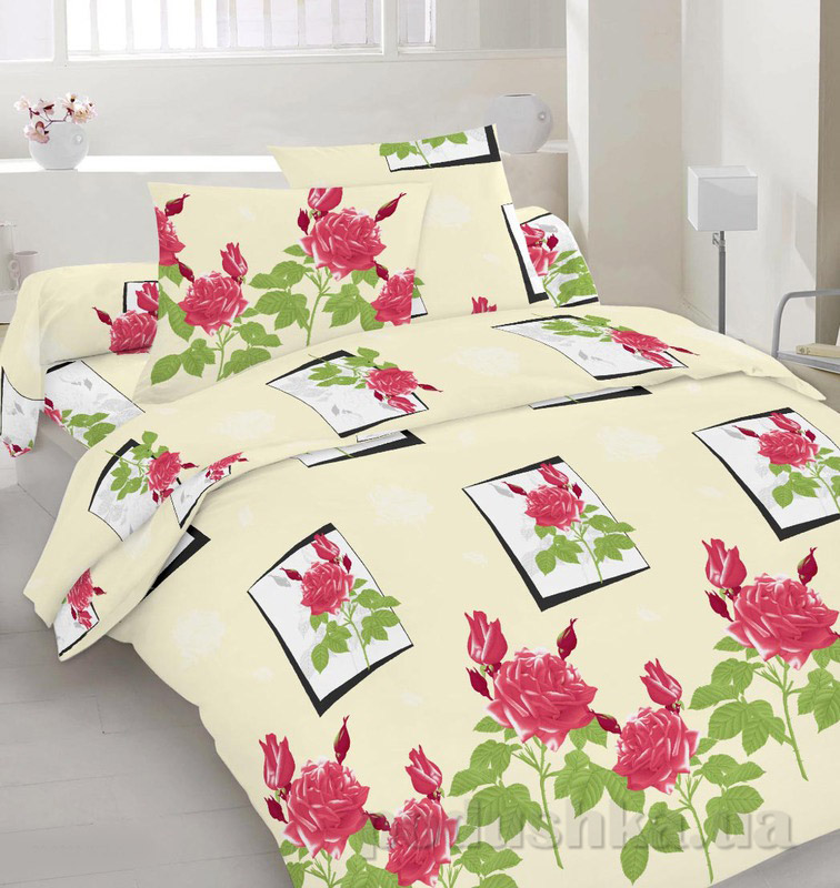 Комплект постельного белья TM Nostra Сатин бежево-зелено-розовый Розы