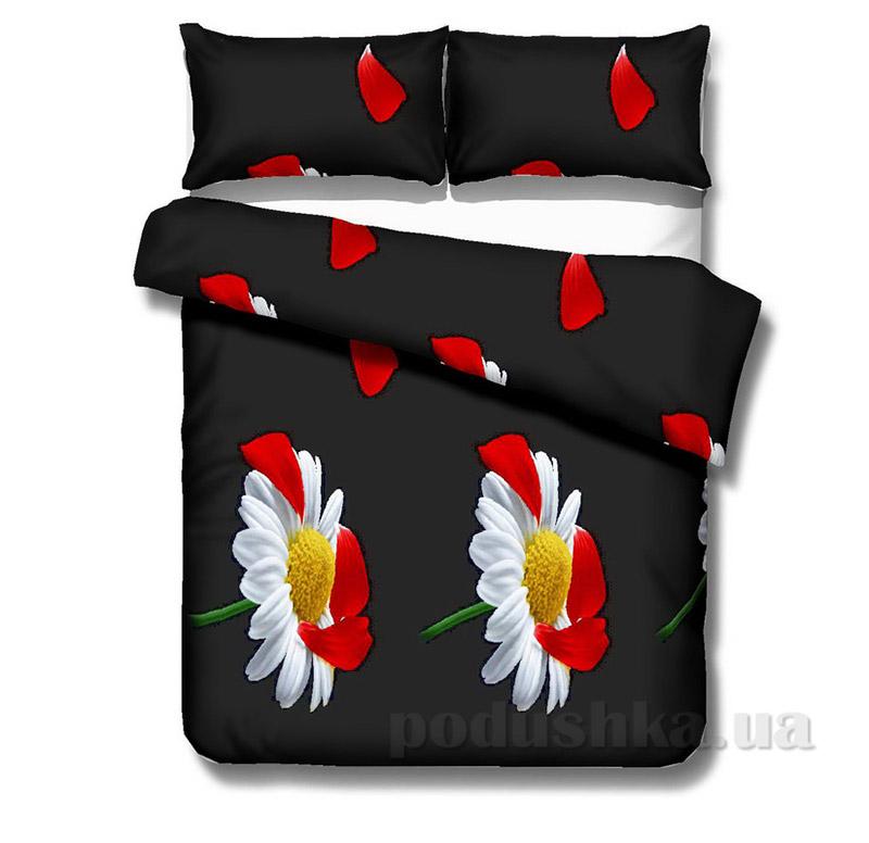 Комплект постельного белья TM Nostra Сатин черно-красный ромашки