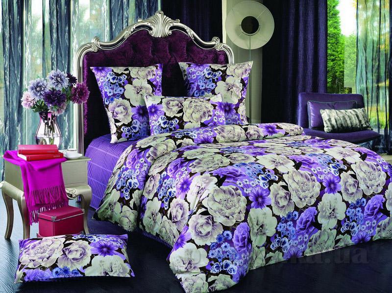 Комплект постельного белья TM Nostra Сатин фиолетово-бежевый цветы