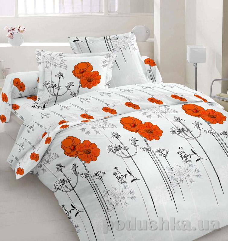 Комплект постельного белья TM Nostra Сатин красно-серый цветы