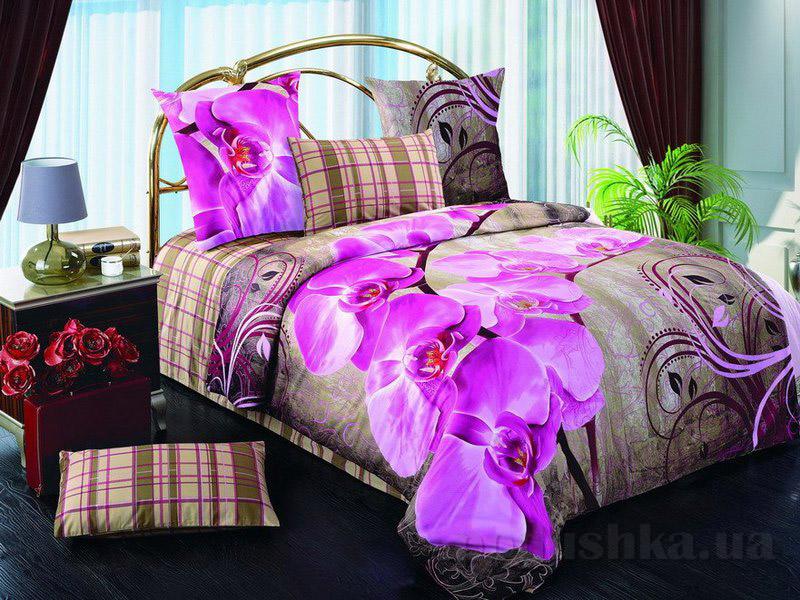 Комплект постельного белья TM Nostra Сатин лилово-бежевый цветы-клетка
