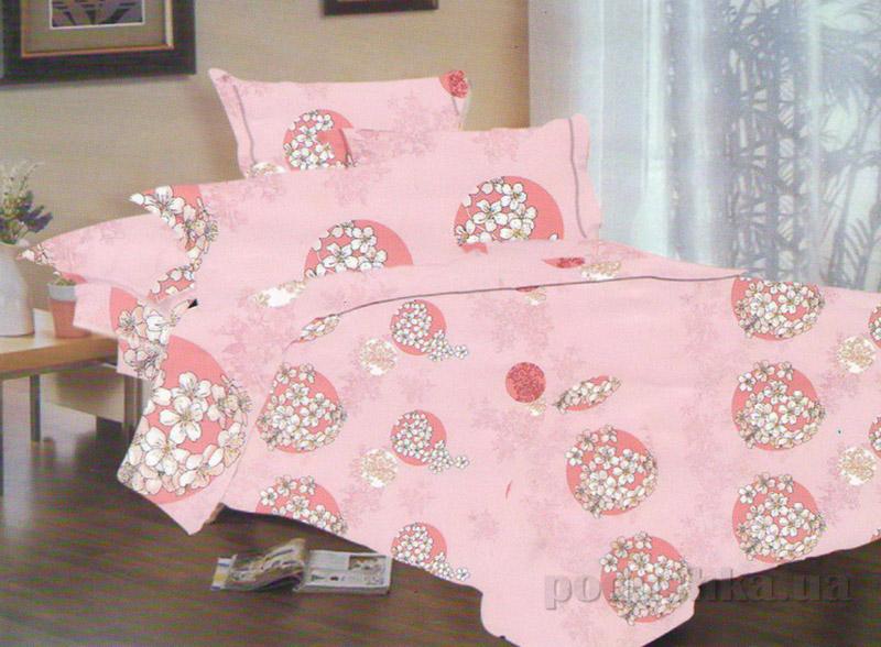 Комплект постельного белья TM Nostra Сатин розовый белые цветы