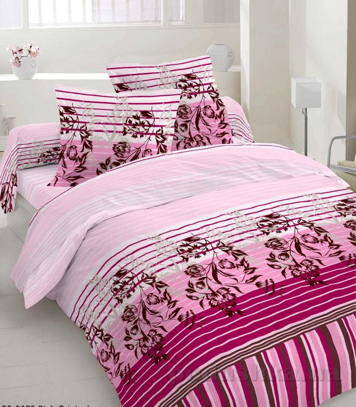 Комплект постельного белья TM Nostra Сатин розовый полоска-цветы